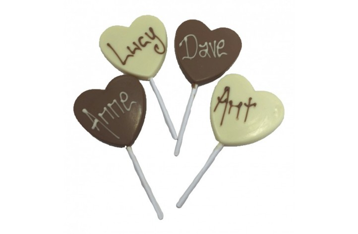 Real Belgian Chocolate Heart Shaped Lollipops with Wording